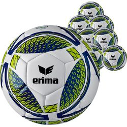 Erima Senzor Training (Maat 5) 10X Ballenpakket - Wit / New Navy / Lime