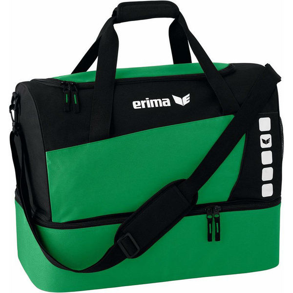 Erima Club 5 (Large) Sac De Sport Avec Compartiment Inférieur - Vert / Noir