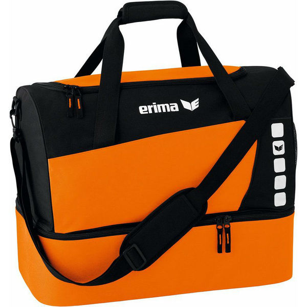 Erima Club 5 (Small) Sac De Sport Avec Compartiment Inférieur - Orange / Noir