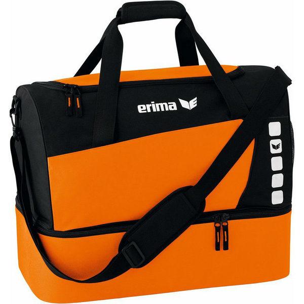 Erima Club 5 (Medium) Sac De Sport Avec Compartiment Inférieur - Orange / Noir