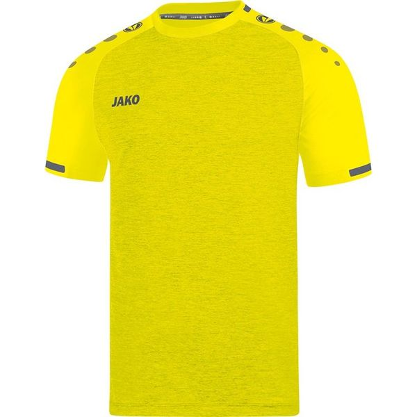 Jako Prestige Shirt Korte Mouw - Lichtgeel Gemeleerd / Antraciet