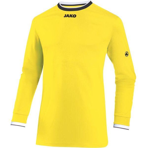 Jako United Voetbalshirt Lange Mouw Heren - Citroen / Zwart / Wit