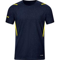 Jako Challenge T-Shirt Heren - Marine Gemeleerd / Fluogeel