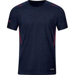 Jako Challenge T-Shirt Heren - Marine Gemeleerd / Kastanje