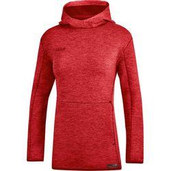 Jako Premium Basics Sweater Met Kap Dames - Rood Gemeleerd