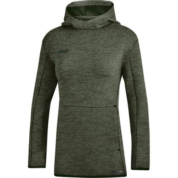 Jako Premium Basics Sweater Met Kap Dames - Kaki Gemeleerd