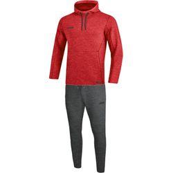 Jako Premium Basics Joggingpak Met Sweaterkap - Rood Gemeleerd