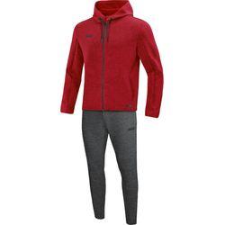 Jako Premium Basics Joggingpak Met Kap Heren - Rood Gemeleerd