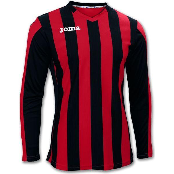 Joma Copa Voetbalshirt Lange Mouw Heren - Rood / Zwart