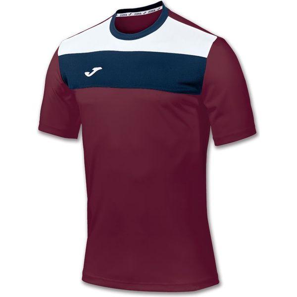 Joma Crew Shirt Korte Mouw Heren - Bordeaux / Wit / Marine