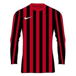 Nike Striped Division IV Voetbalshirt Lange Mouw Kinderen - Rood / Zwart