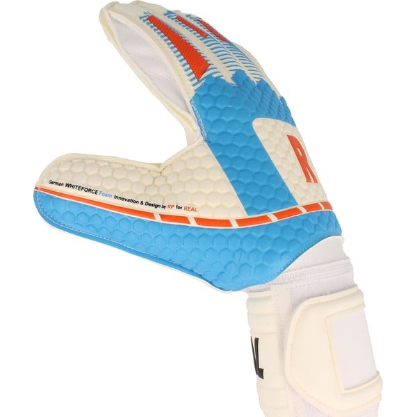 Real White Force Keepershandschoenen - Wit / Lichtblauw / Rood