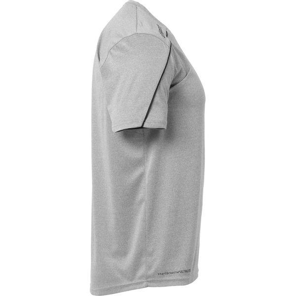 Uhlsport Stream 22 Shirt Korte Mouw Kinderen - Donkergrijs Gemeleerd / Zwart