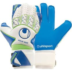 Uhlsport Aquasoft Gants De Gardien Hommes - Blanc / Bleu / Vert Fluo